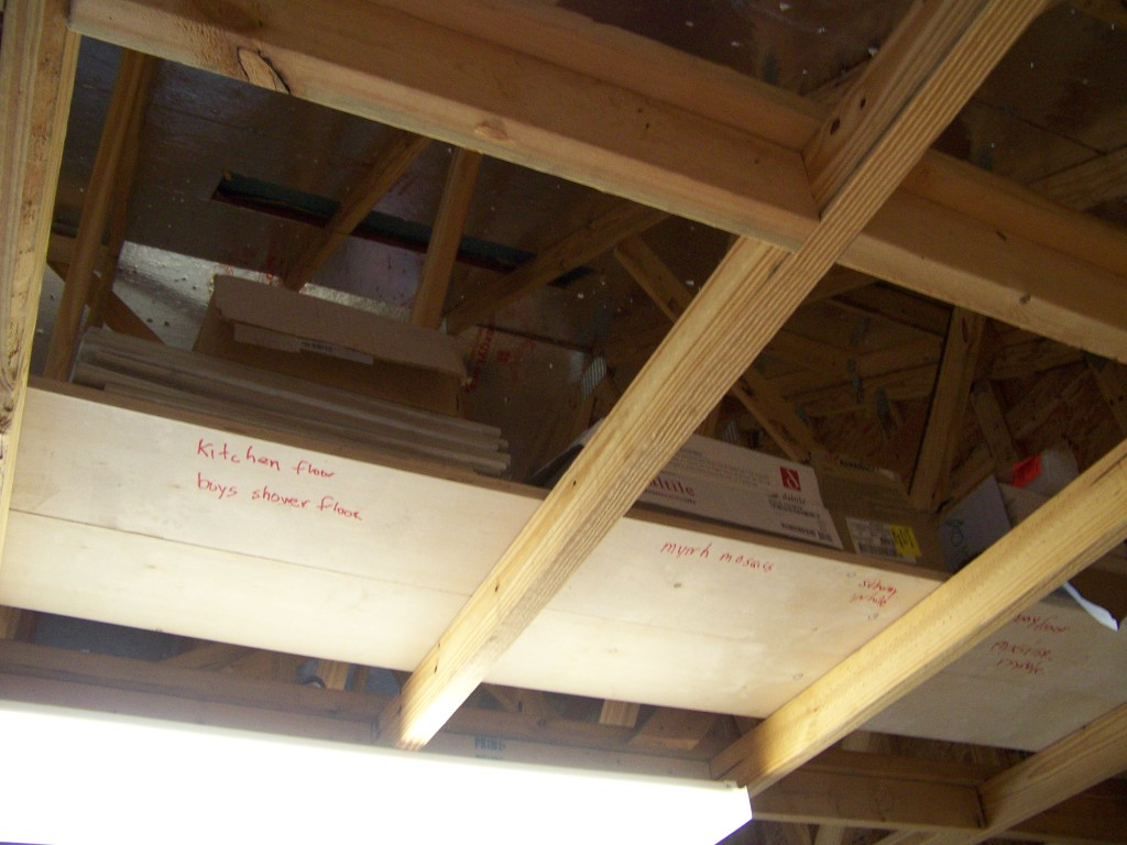 Tile stored over head and the plank boards labeled